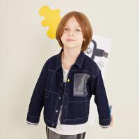 【1件5折后到手价:219.5元】马拉丁童装男童牛仔衣秋装2019新款趣味主题印花时尚小方领外套
