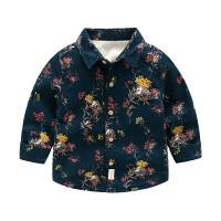 男童衬衫中大童春秋长袖儿童格子衬衣宝宝翻领衬衫潮上衣童装