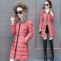 中长款棉衣服女装棉袄子2018冬季新款韩版修身冬天加厚大毛领外套