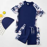 儿童泳衣男童分体大码中大童男孩平角游泳裤青少年学生防晒套装