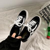 复古港味帆布鞋女学生韩版港风板鞋2019怪味少女鞋子 黑白