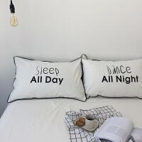 北欧水洗棉枕套棉枕头套子单人白色字母枕套球球款一对装s 【两只装】枕套 48cmX74cm