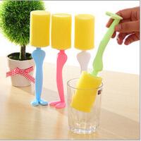 糖果色绅士先生洗杯刷 海绵带手柄清洁刷子创意清洁用具 一个装