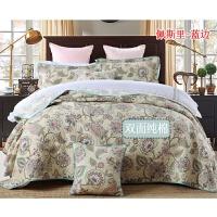 欧式绗缝床盖三件套单件衍缝被双人床铺盖夹丝棉加厚床单床罩y 卡其色 佩斯里蓝边