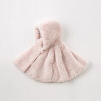 davebella戴维贝拉童装冬季新款女童连帽绒披风洋气斗篷DBQ11694