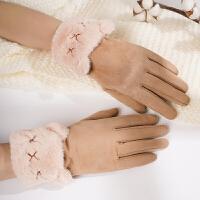 手套女冬季韩版加绒防寒骑行冬天麂皮绒加厚可触摸屏保暖骑车手套