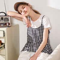 【活动唐狮夏新款衬衫女时尚两套净色短袖T恤休闲背心格子衬衫Z