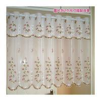 穿管帘田园窗幔帘刺绣韩式布艺窗帘成品门帘厨房帘咖啡帘