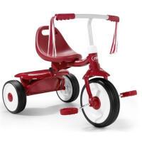 儿童三轮车脚踏车美国可折叠 宝宝童车自行车1-3岁LYZT52 红色 直把 现货