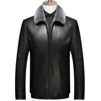 新款冬季仿真皮衣中年男士皮毛一体加绒加厚爸爸装pu皮夹克衫外套