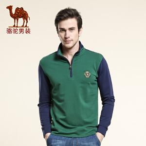 骆驼男装 春季新款微弹套头立领直筒长袖卫衣 美式休闲卫衣男