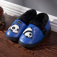 卡通冬季大儿童皮防水室内居家保暖防滑厚底宝宝男女毛棉拖鞋包跟