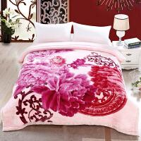 拉舍尔毛毯双层加厚冬季婚庆毛毯大红结婚*物双人保暖双喜盖毯y 210cmx240cm