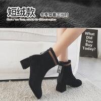高跟马丁靴冬加绒方头短靴女2019新款粗跟袜靴子网红瘦瘦靴