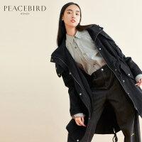 黑色风衣式羽绒服女中长款2019冬新款连帽宽松白鸭绒外套直筒羽绒