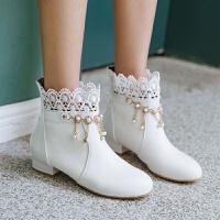 马丁靴中大童学生公主短靴白色女童靴子韩版2018秋冬童鞋儿童