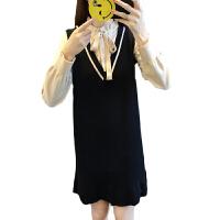 新年特惠连衣裙冬季2019新款女中长款加厚假两件韩版长袖木耳边显瘦毛线裙 均码