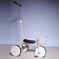日本三轮车脚踏车小孩自行车简约无印宝宝推杆手推童车1-3岁YW03 白+前框(推杆)加厚版 送
