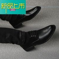 新品上市春秋男士韩版商务休闲系带软皮软底尖头皮鞋青年英伦真皮正装鞋子