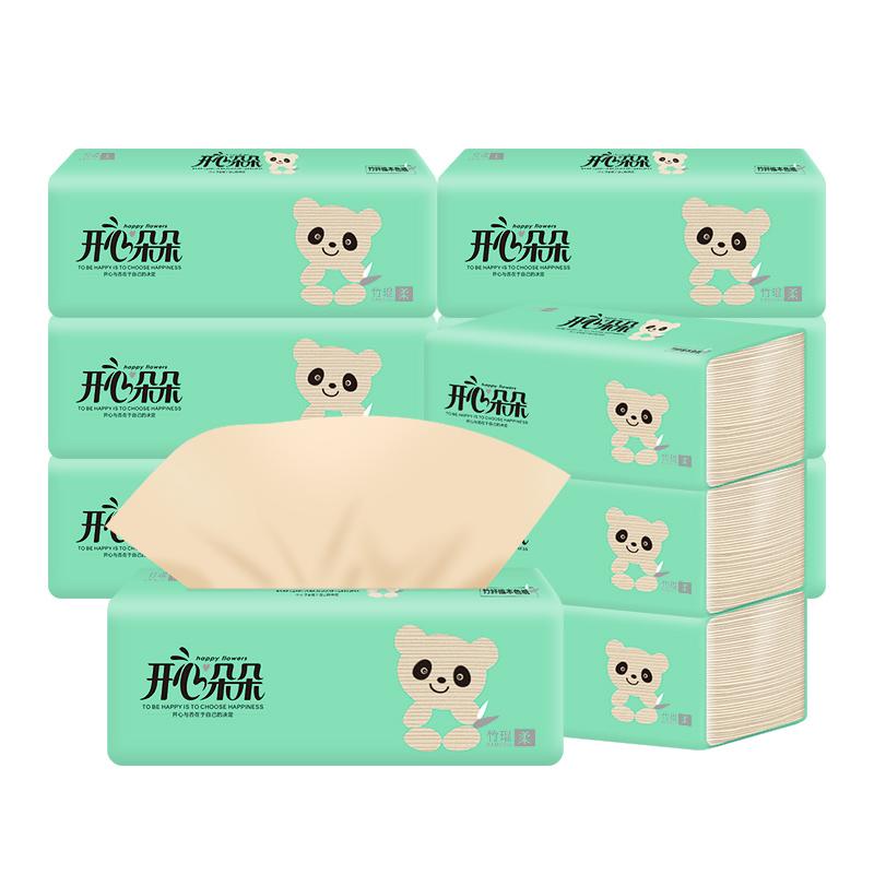 开心朵朵本色抽纸12包 面巾纸 本色竹浆 家庭装小包餐巾纸
