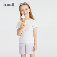 【2件4折价:95.6】安奈儿童装女童夏季套装薄款2021新款女孩短袖T恤短裤两件套外穿
