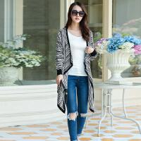 2016黑灰条纹休闲时尚韩版女士长袖空调针织衫大码披肩开衫毛衣