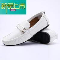新品上市春秋男士休闲真皮鞋子潮流百搭防臭透气方头豆豆鞋男鞋 白色