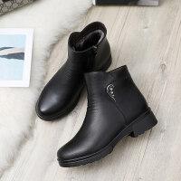 冬季妈妈棉鞋中老年平底短靴老鞋加绒保暖滑奶奶中年女鞋