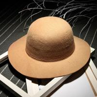 宽檐毛呢帽子圆顶礼帽大波浪大檐帽遮阳帽盆帽渔夫帽