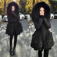 女装加肥加大码女装冬装新款棉衣胖mm韩版收腰显瘦中长款外套女棉袄保暖宽松女 黑色
