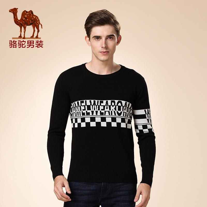 骆驼男装 新品秋款套头圆领修身毛衣 青春流行休闲毛衣 男士