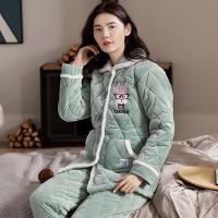 珊瑚绒睡衣女秋冬季加绒三层夹袄法兰绒冬天保暖家居服套装