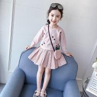 女童套装裙春装卫衣儿童格子短裙三件套