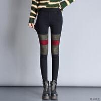 打底裤女韩版冬季2018新款加绒加厚外穿弹力显瘦棉裤铅笔裤 黑色