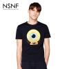 NSNF纯棉手绘卡通图案圆领男款T恤  短袖男装2017新款 修身圆领针织短袖