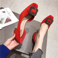 绒面女鞋2019春季新款低帮鞋方头浅口水钻搭扣中跟鞋韩版时尚百搭
