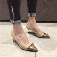 高跟单鞋女2019新款时尚尖头细跟中跟单绒面拼接气质通勤高跟鞋