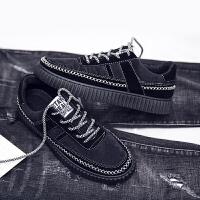 韩版低帮板鞋男黑色绒面鞋子男学生青秋潮流休闲鞋原宿百搭潮男鞋