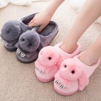 儿童棉拖鞋韩版可爱卡通包跟厚底冬季毛毛室内亲子保暖棉拖鞋