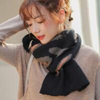 秋冬季新款豹纹针织毛线小围巾女韩版百搭日系加厚保暖围脖冬天