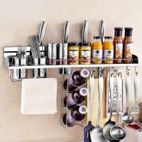 免打孔304不锈钢厨房置物架壁挂式刀架调味用品调料架收纳架挂架7at