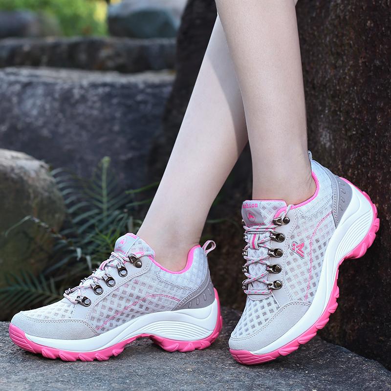 夏季低帮户外鞋女网面透气运动登山鞋防滑爬山徒步鞋户外登山鞋女