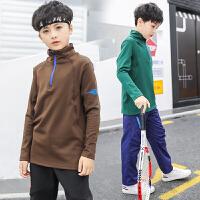 儿童运动T恤2018秋冬季新款男童长袖速干恤中大童男孩上衣加绒