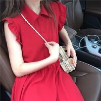 新款连衣裙 夏装新款娃娃领无袖荷叶边红色洋装洛丽塔复古中长连衣裙 红色 均码