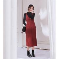 秋冬季法式复古有女人味法国小众配大衣长裙子两件套装毛衣连衣裙 黑色上衣+砂红色背带裙