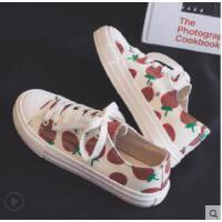 新款帆布鞋女韩版百搭潮鞋ulzzang学生休闲布鞋草莓板鞋