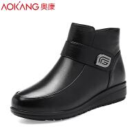 奥康女棉鞋平底保暖棉靴真皮短靴子2018新款高帮加绒秋冬棉鞋