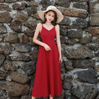 普吉岛沙滩裙女夏海边度假泰国裙子红色吊带露背连衣裙女超仙长裙
