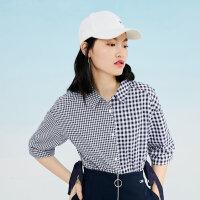 太平鸟格子衬衫女2019春夏潮流新款拼接格纹五分袖收腰系带上衣