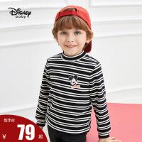 【2件3折后价:56.7元】迪士尼冬装儿童小立领打底衫宝宝加绒加厚保暖衣男童加绒长袖T恤